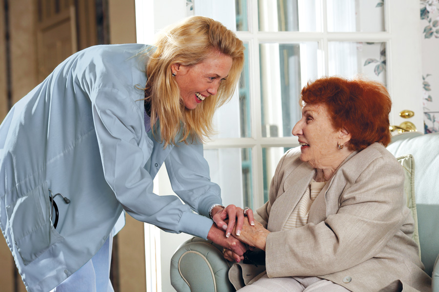 Senior Living Resident and Nurse
