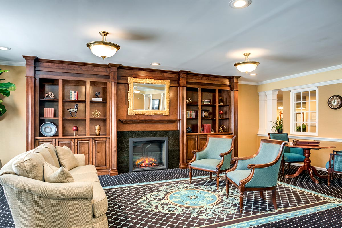 Living Room with Fireplace in Senior Living