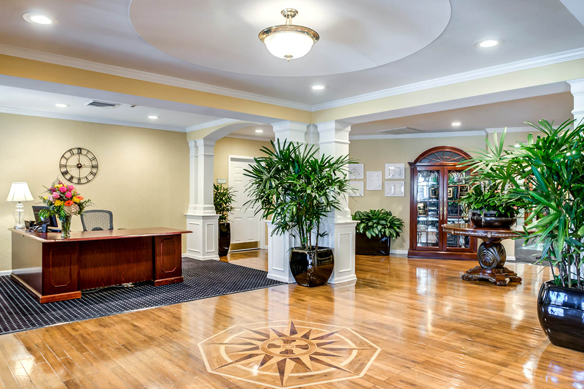 Beautiful Senior Living Lobby with Concierge Desk