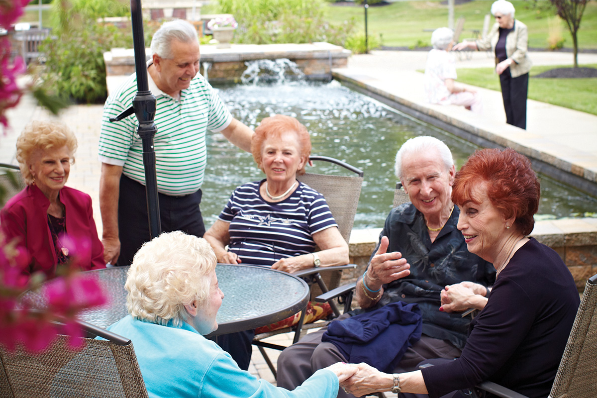 Residents Enjoying the Courtyard