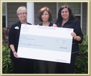 donation, Kisses For Kyle Foundation, Brandywine Living at Dresher Estates