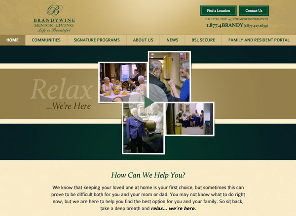 new Brandycare website, brandywine senior living