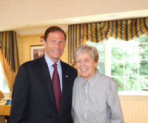 U.S. Senator Richard Blumentha with Senior Woman