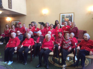 Group of Seniors Wearing Red For National Wear Red Day