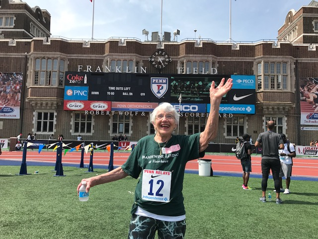 brandywine living at voorhees, mary runs penn relays