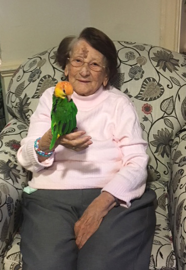 Ann Baldwin with Therapy Parrot
