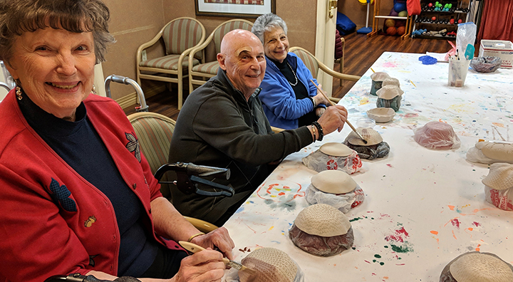 Brandywine Living at Longwood Seniors Proudly Sculpt Clay Bowls