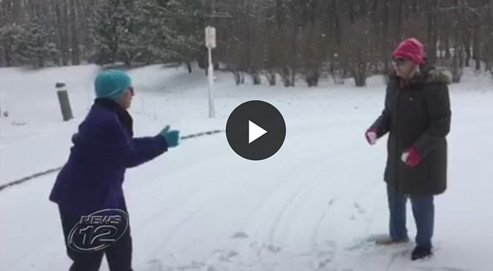 Two Brandywine Living Residents Throw Snowballs
