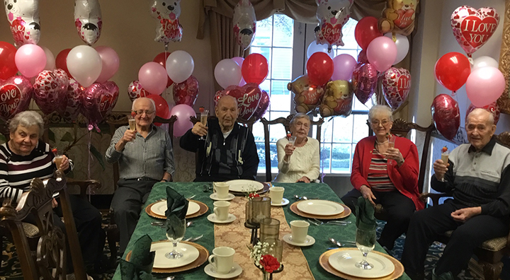 Brandywine Living at Princeton Couples Toast on Valentine's Day