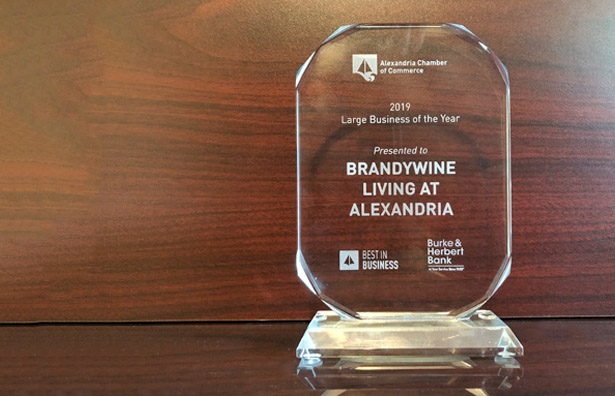 Brandywine Living at Alexandria, senior living provider, Large Business of the Year Award