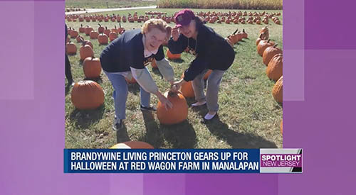 Two Brandywine Living at Princeton Seniors at a Pumpkin Patch