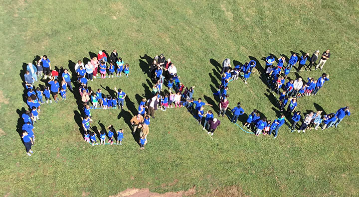 Brandywine Living Seniors and Local Students Form the Words Peace on International Peace Day
