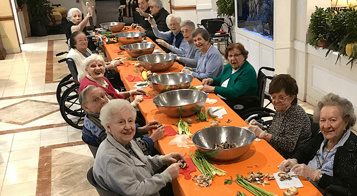 Mountain Ridge Senior Living Residents Chopping Vegetables for Soup