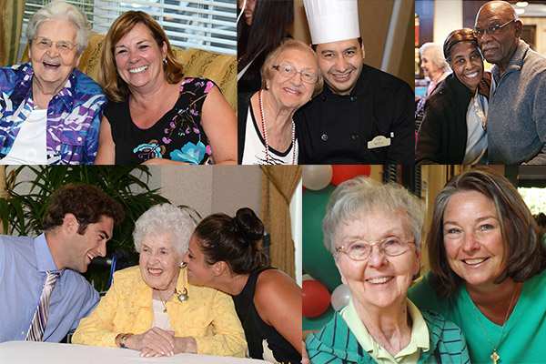 collage of residents, family and employees at brandywine living communities
